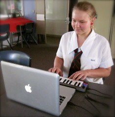 Student playing music