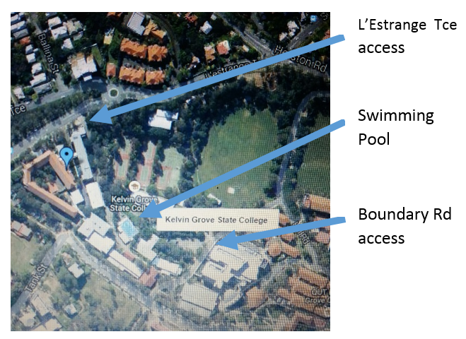 Map pointing out location of Swim Club